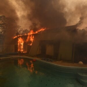Mandatory Credit: Photo by DEAN LEWINS/EPA-EFE/Shutterstock (10509325g)A home lost to a bushfire on Hassall Road in Buxton as the Green Wattle Creek Fire threatens a number of communities in the south west of Sydney, NSW, Australia, 19 December 2019. Soaring temperatures exceeding 40 degrees Celsius and north westerly winds are fanning a number of fires around Sydney.Bushfires continue to burn in New South Wales, Buxton, Australia - 19 Dec 2019