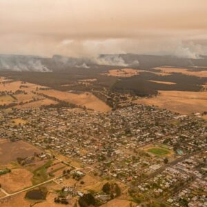 Mandatory Credit: Photo by JASON EDWARDS/POOL/EPA-EFE/Shutterstock (10516367g)The Township of Orbost under threat from the East Gippsland fires in Victoria, Australia, 01 January 2020. More than half a million hectares have been burnt in Victoria's destructive East Gippsland fires. According to reports, at least 17 people have died and thousands have been evacuated due to catastrophic bushfires.Bushfires in Victoria, Australia, Bairnsdale - 01 Jan 2020